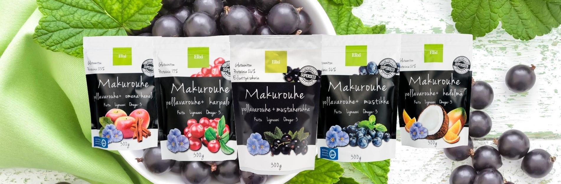 Makurouheet, pellavarouhe ja marjoja ja hedelmiä